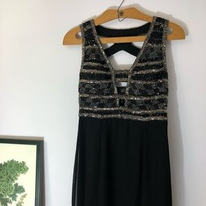 Adrianna Papell black beaded dinner gown